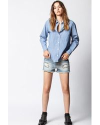 Zadig & Voltaire Storm Dirty Shorts - Blue