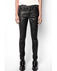 Zadig & Voltaire Phlame Crinkled Leather Pants - Black