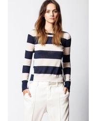 Zadig & Voltaire Source Cachemire Stripes Sweater - Blue