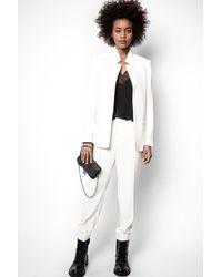 Zadig & Voltaire Pantalon Panda Crepe Ecru - Taille 34 - Femme - Blanc