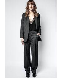 Zadig & Voltaire Pantalon Profil Pinstripe Strass Gris - Taille 34 - Femme