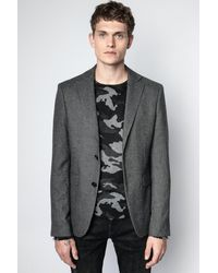 Zadig & Voltaire Veste Viks Wool Anthracite - Taille 44 - Homme - Gris
