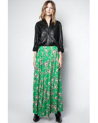 Zadig & Voltaire Joyo Print Roses Skirt - Green