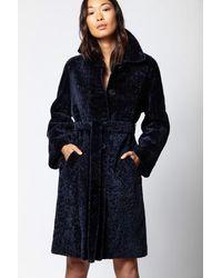 Zadig & Voltaire Magda Shearling Coat - Blue