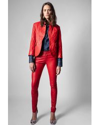 Zadig & Voltaire Phlame Pants Crinkled Leather - Red