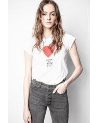Zadig & Voltaire T-shirt Skinny Je T'aime - Blanc