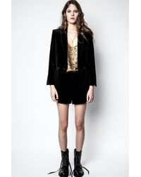 Zadig & Voltaire Pink Velvet Shorts - Black