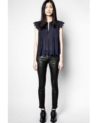 Zadig & Voltaire Tiara Voile Embroidered Top - Blue