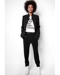 Zadig & Voltaire Pantalon Panda Crepe Noir - Taille 34 - Femme