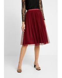 LACE & BEADS VAL SKIRT - Jupe trapèze - Rouge