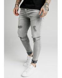 SIKSILK SKINNY CUFFED JEANS - Jeans Skinny Fit - Grau