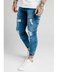 SIKSILK SKINNY CUFFED JEANS - Jeans Skinny Fit - Blau