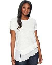 83b1041285c72 Two By Vince Camuto - Short Sleeve Asymmetrical Ruffle Hem Tee W  Fringe  Trim (