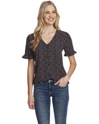 Cece 3/4 Ruffled Sleeve Moroccan Ditsy Blouse - Black