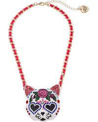 Betsey Johnson Large Sugar Skull Cat Pendant Necklace - Pink
