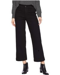 PAIGE - Clean Front Nellie Culotte In Black Overdye (black Overdye) Women's Jeans - Lyst