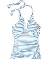 Lauren by Ralph Lauren Bengal Stripe Halter Tankini Swimsuit Top - Blue