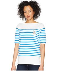 Lauren by Ralph Lauren - Striped Cotton T-shirt (soft White/polo Black) Women's T Shirt - Lyst