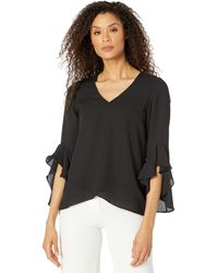 Vince Camuto - Flutter Sleeve V-neck Tunic Clothing - Lyst