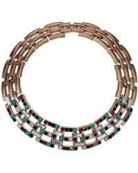 Steve Madden Jeweled Square Link Design Choker Necklace - Multicolor