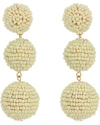 Kenneth Jay Lane | 2 Ivory Seed Bead Wrapped Ball Post Earrings W/ Dome Top | Lyst