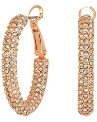 Vince Camuto - Pave Hinge Hoop Earrings (rose Gold) Earring - Lyst