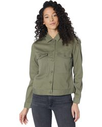 Liverpool Jeans Company Utility Jacket With Patch Pockets In Stetch Cotton Dobby - Green