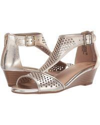 97c6147ce77 Steve Madden Rose Gold Sapphire Strappy Flat Sandals in Metallic - Lyst