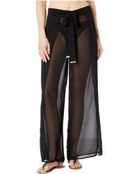 MICHAEL Michael Kors Solids Cover-up Pants With Belt - Black
