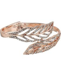 Guess - Feather Bypass Hinge Bangle (rose Gold/crystal) Bracelet - Lyst