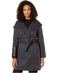 Via Spiga Oversized Hooded Shawl Collar Woven Lightweight Raincoat With Faux Leather Detail - Blue