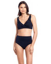 Lauren by Ralph Lauren Beach Club Solid Ruffle Underwire Bra Top - Black