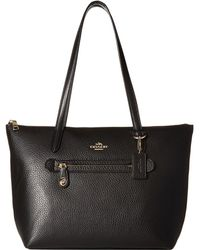 COACH - Pebbled Taylor Tote (li/black) Tote Handbags - Lyst