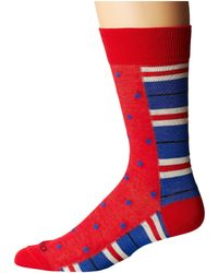 Etro - Stripe And Polka Dot Socks (red) Men's Crew Cut Socks Shoes - Lyst