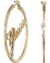 Guess - Logo Thick Clutchless Hoop Earrings (silver) Earring - Lyst