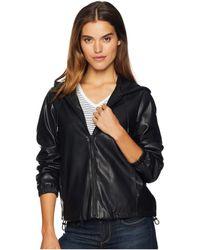 Sam Edelman Faux Leather Hoodie (black) Clothing