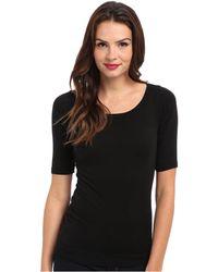 Michael Stars - Supima Elbow Sleeve Wide Scoop (indigo) Women's Long Sleeve Pullover - Lyst