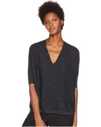 Eileen Fisher - Fine Merino Double Links V-neck 3/4 Sleeve Top (charcoal) Women's Clothing - Lyst