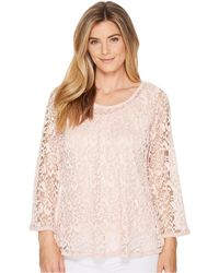 Nally & Millie - Lace Top Set W/ Tank Layer (peach Pink) Women's Clothing - Lyst
