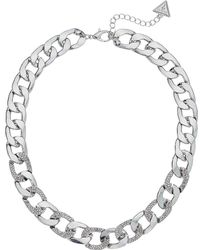 Guess - Chain Link Necklace With Pave Accents 16 With 2 Extender (rose Gold) Necklace - Lyst