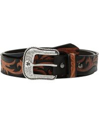 Ariat - Scroll Center Belt (black/tan) Men's Belts - Lyst