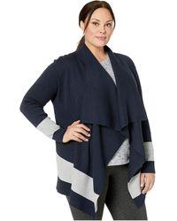 Lauren by Ralph Lauren Stretch Cotton Modal Long Sleeve Open Cardigan - Blue