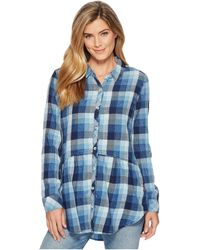 Mod-o-doc - Stone Washed Indigo Plaid Long Sleeve Button Front Shirt W/ Front Pockets (multi Blue) Women's Long Sleeve Button Up - Lyst