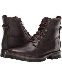 Frye - Union Workboot (dark Brown Wp Smooth Pull-up) Men's Boots - Lyst