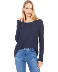 Dylan By True Grit Soft Brushed Waffle Simple Long Sleeve Crew - Natural