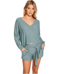 Chaser Cozy Knit Cropped Long Sleeve V-neck Pullover - Gray