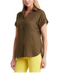 Lauren by Ralph Lauren Linen Dolman-sleeve Shirt - Gray