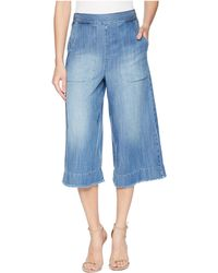 Splendid - Cotton Twill Cropped Wide Leg Pant Chambray (medium Wash) Women's Casual Pants - Lyst