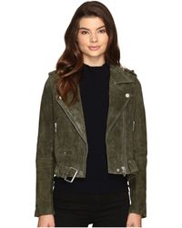 Blank NYC - Real Suede Moto Jacket In Olive Juice - Lyst
