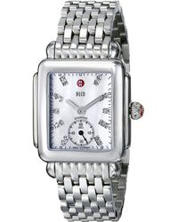 Michele - Deco Mid Diamond Dial Watch (silver) Watches - Lyst
